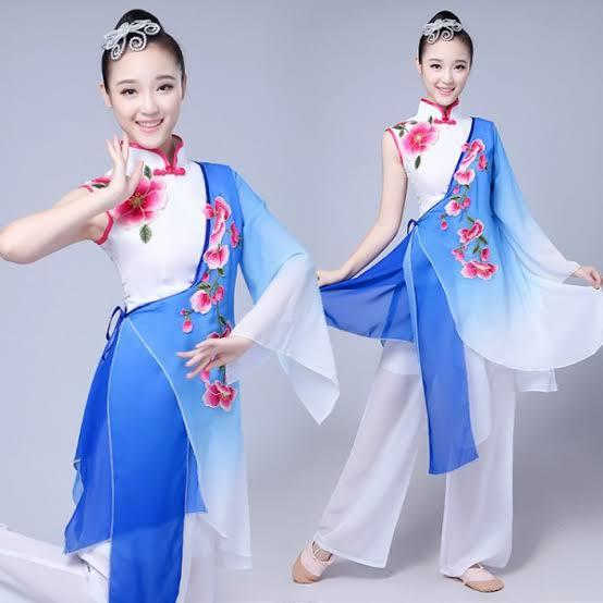 Blue gradient Traditional Chinese Clothing